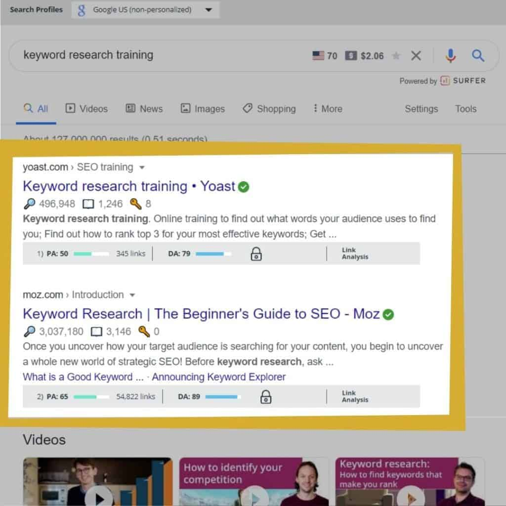 Keyword research training with moz chrome extention 1