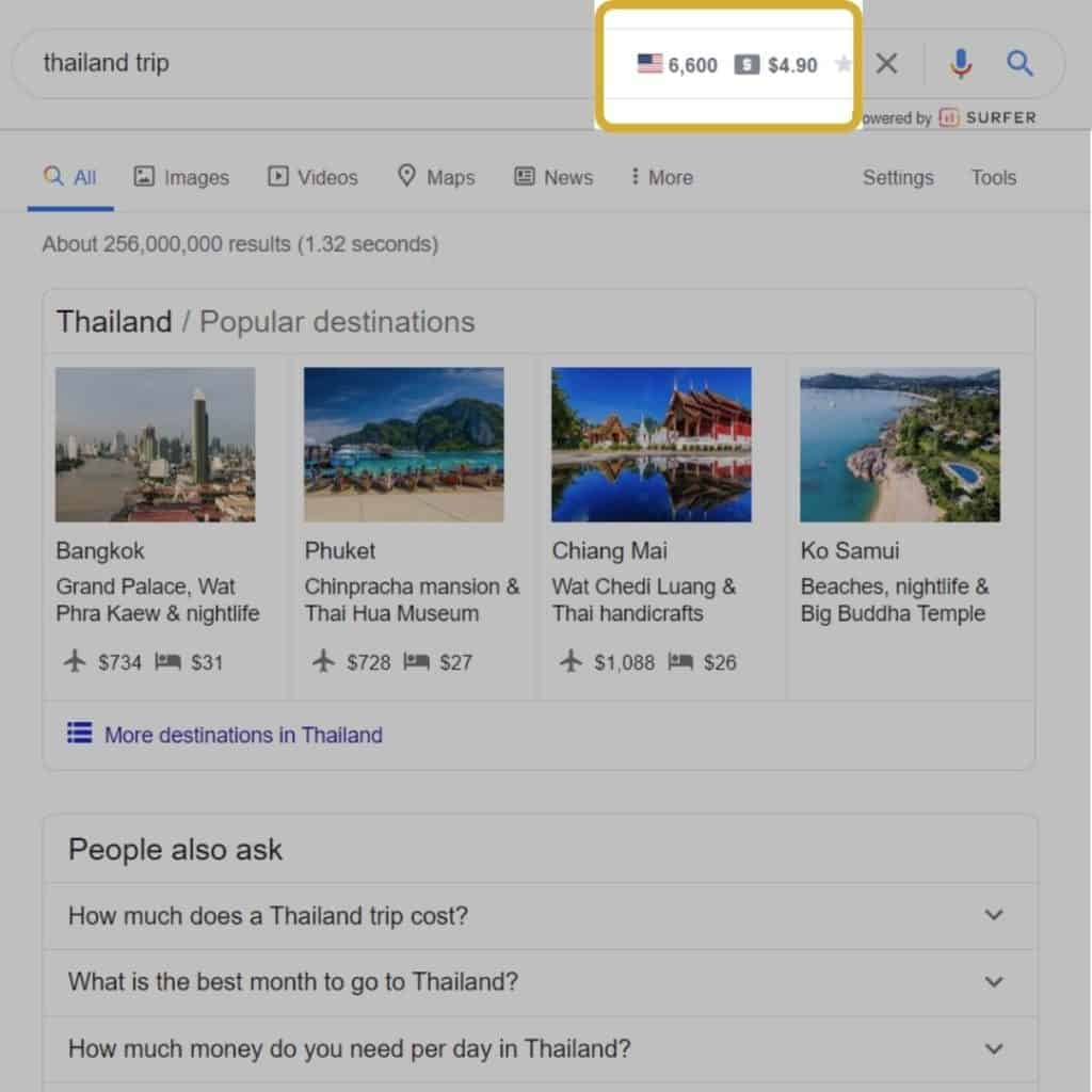 Thailand Trip Google Search Manual keyword research example