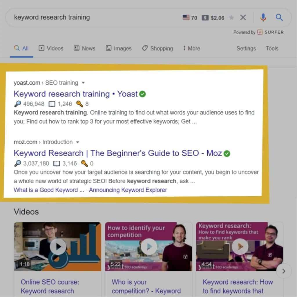 keyword research training without moz chrome extention